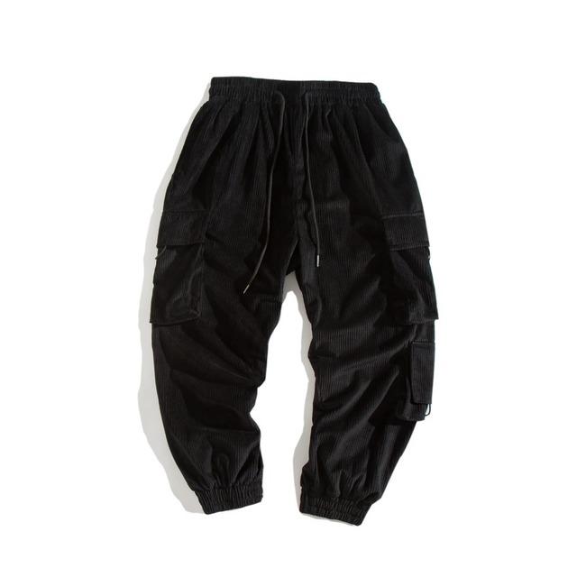 606707835236_黑色 日系秋冬多口袋水洗工装束脚裤男 青年宽松纯色休闲收