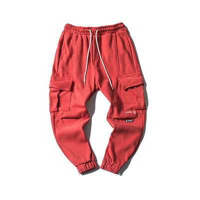 605275885288_红色 冬季日系加绒加厚纯色百搭休闲裤男潮牌束脚裤收口抽绳