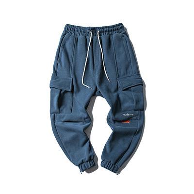 605275885288_蓝色 冬季日系加绒加厚纯色百搭休闲裤男潮牌束脚裤收口抽绳