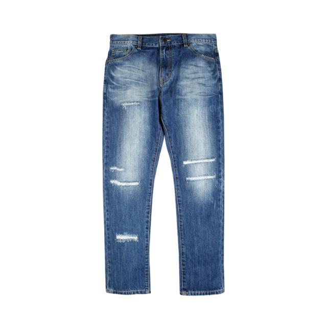 610546594173_蓝色 ANB 2019AW 蓝色水洗破洞牛仔裤